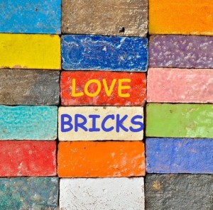 colorful bricks titled LOVE BRICKS